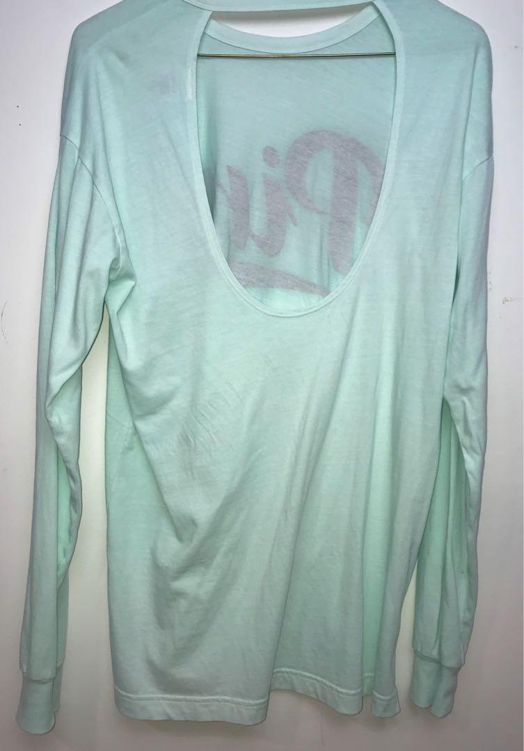 VS Pink Mint Oversized Long Sleeve Shirt w/ open back