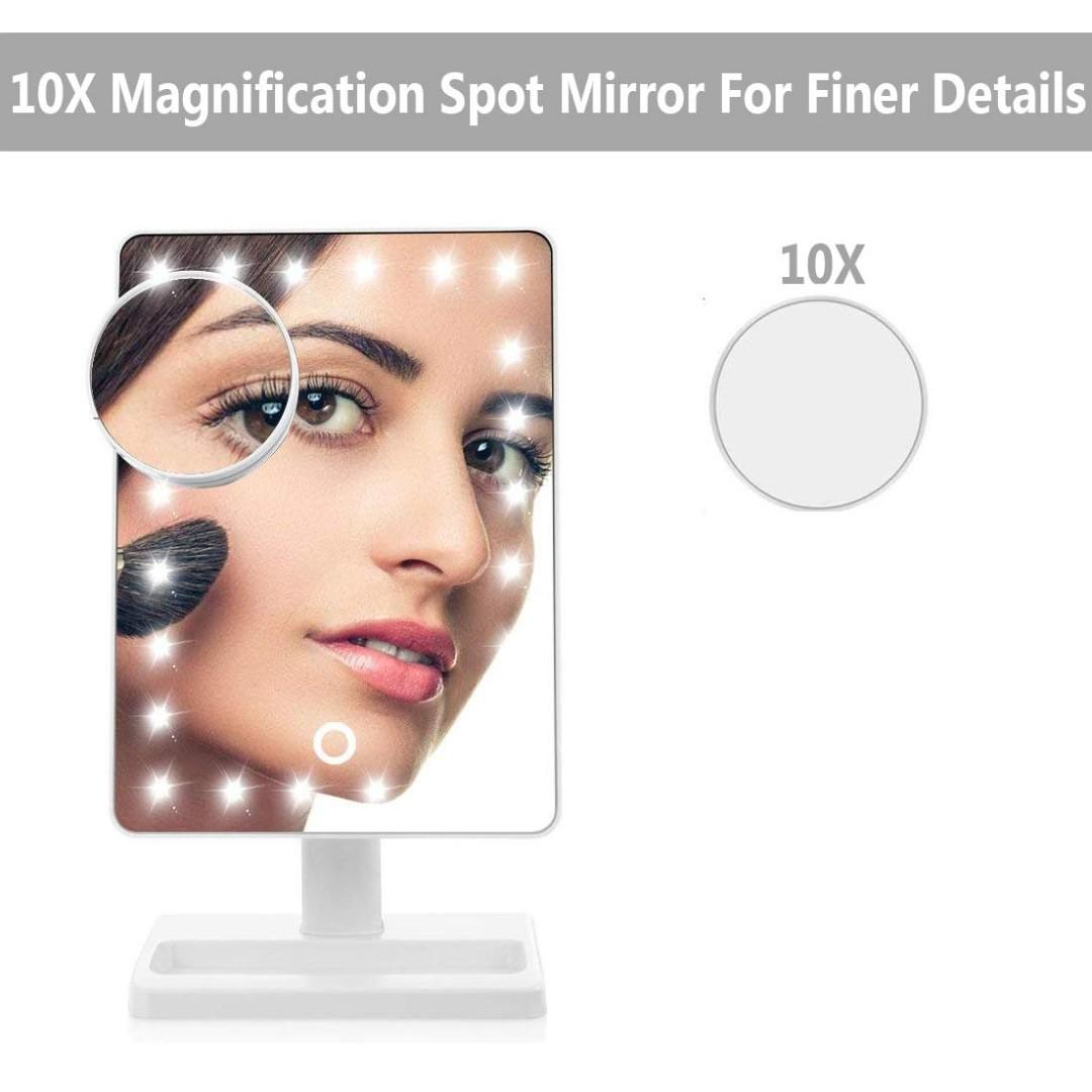 """Waneway 12"""" LED Makeup Mirror with 10x Magnification Detail Mirror"""