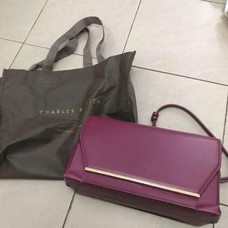 Burgundy charles n keith sling bag violet cnk
