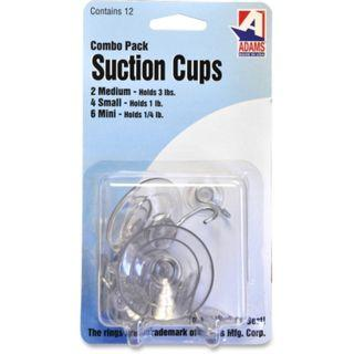 Adams Manufacturing 9512-99-3040 Suction Cups with Hooks, 12 pcs