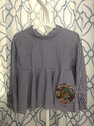 Zara Navy Blue Stripes Blouse