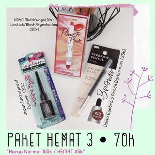 Paket hemat 3 , makeup novo & daiso