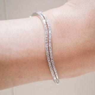 Wave Double Pave Diamond Bangle