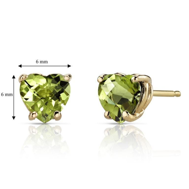 1.5 ct Peridot Stud Earrings 14K Yellow Gold Heart Cut 6 x 6 mm