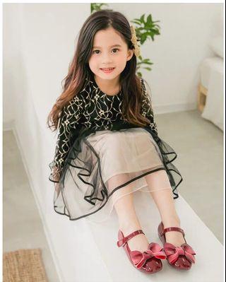 (紅色款)軟底蝴蝶結女孩公主鞋花童鞋