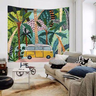 小預算佈置術熱帶植物北歐裝飾牆壁掛布壁畫直播背景微裝潢