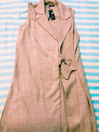 Berrybenka Murah Vest Outer Midi Dress Beige Sleeveless Korea Ulzzang Business Local Brand Tartan Plaid