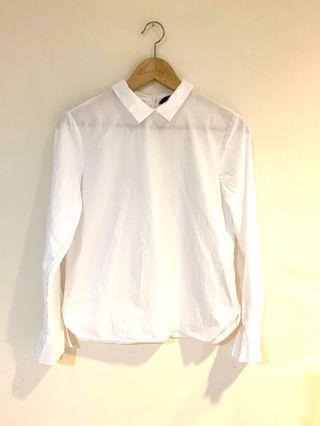 ZARA 背扣式小花袖復古感白襯衫、萬搭款🌫(含運)