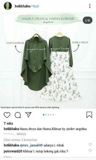 Satu sate haura dress dan hasna khimar non lace