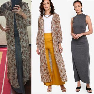 CARDIGAN AND SLEEVELESS DRESS