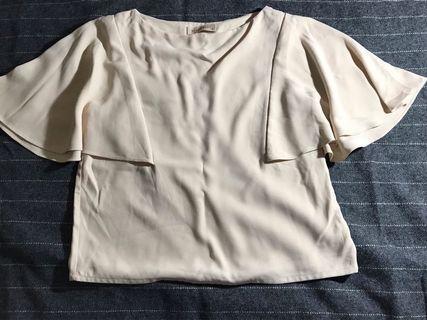 Top blouse ngantor coklat cream