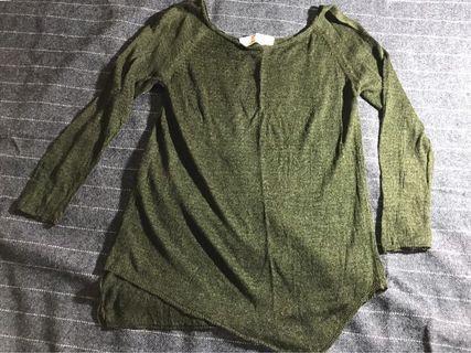 Knit top zara hijau lumut