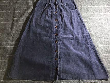 Denim Skirt kancing premium