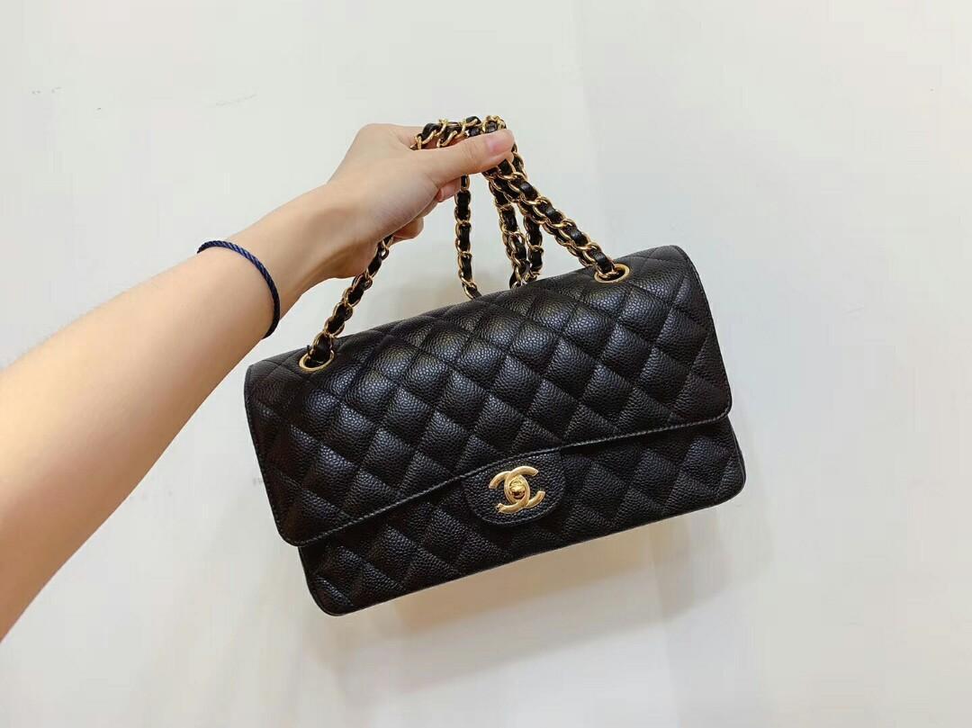 27 open Chanel Chanel cf medium lychee leather black gold shoulder bag