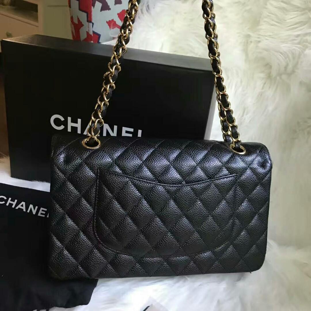 27 open Chanel Chanel cf medium lychee leather black gold shoulder bag