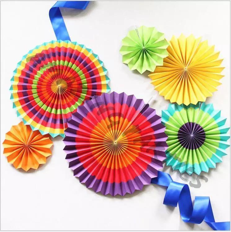 6 pc Rainbow Paper Fan Party Decoration Set