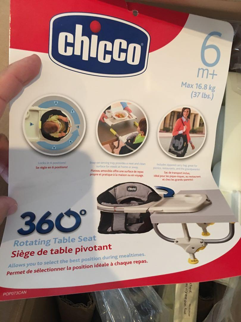 Brand new in packaging Chicco 360 degree table seat