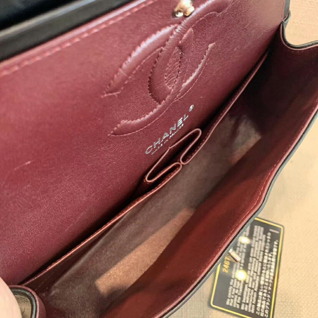 Chanel Chanel black sheepskin gold buckle v pattern cf medium shoulder messenger bag