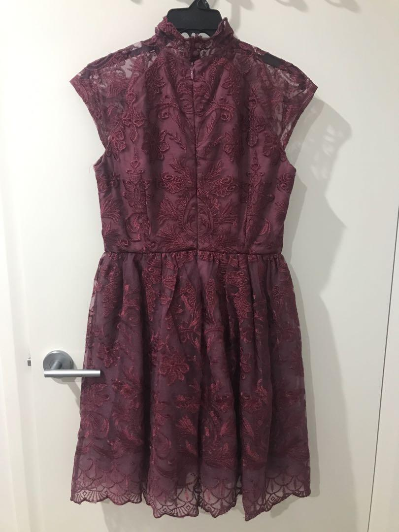 Chi Chi - Ladies maroon lace cocktail dress with high neck detail Size 12 UK