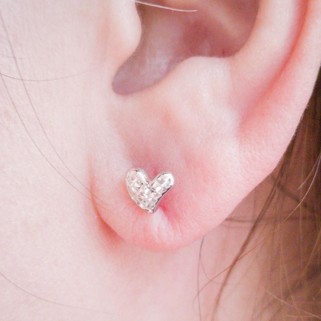 Embossed Heart Motif Earrings