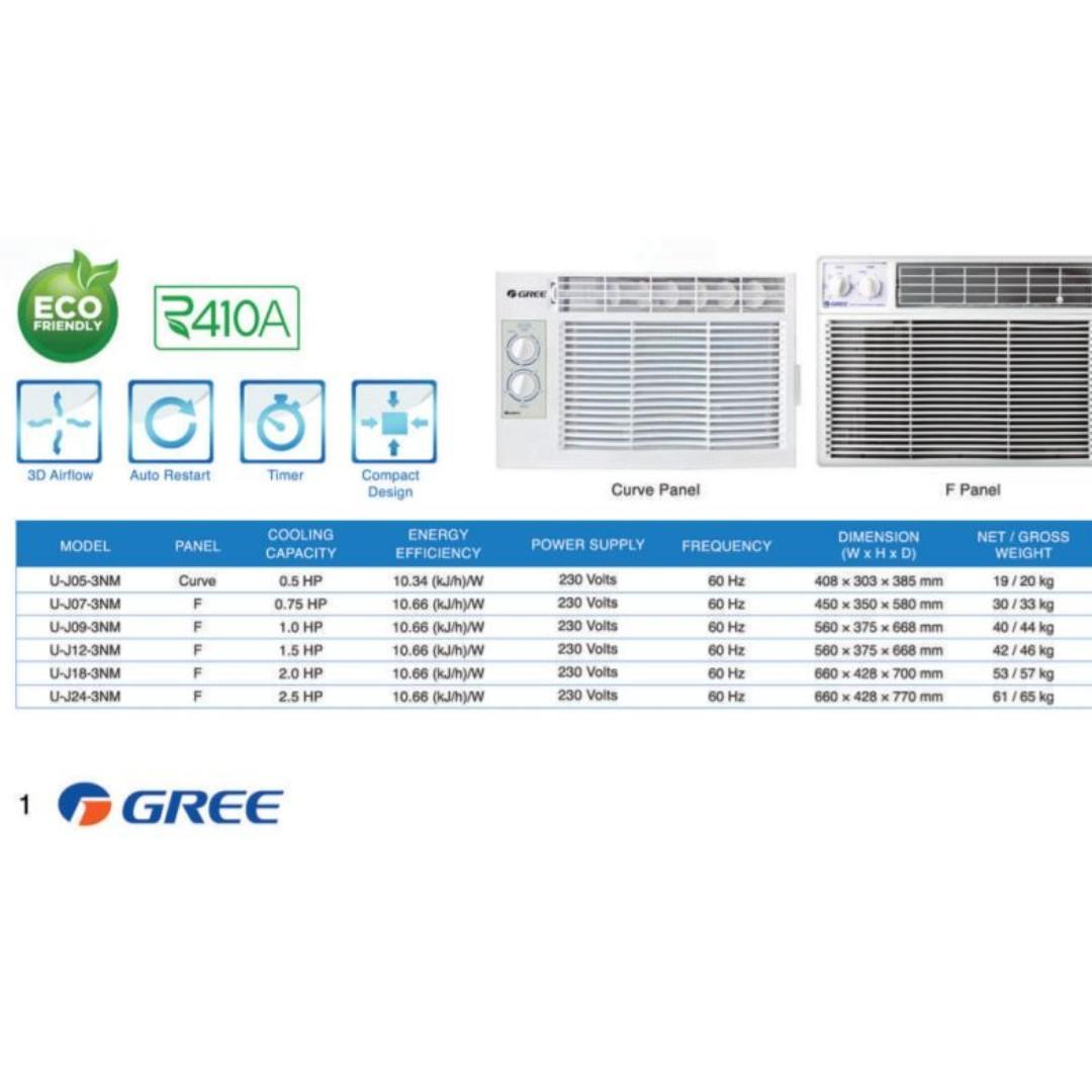 FREE AIRCON INSTALLATION GREE U-J05-3NM Window Type Manual