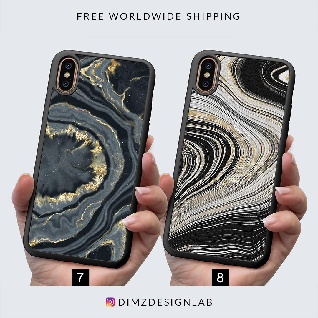 Gold Agate Gemstone iPhone XS Max XR X 8 Plus 8 Samsung Galaxy S9 Plus S9 Note 8 S8 Plus S8 Case Cover