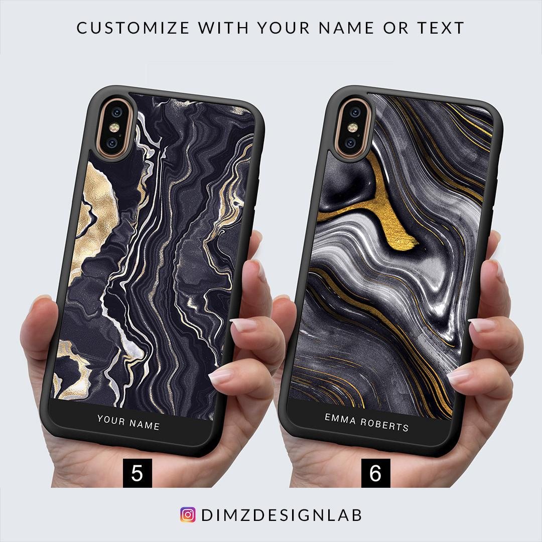 Gold Agate Personalized Custom Name Text iPhone XS Max XR X 8 Plus 8 Samsung Galaxy S9 Plus S9 Note 8 S8 Plus S8 Case