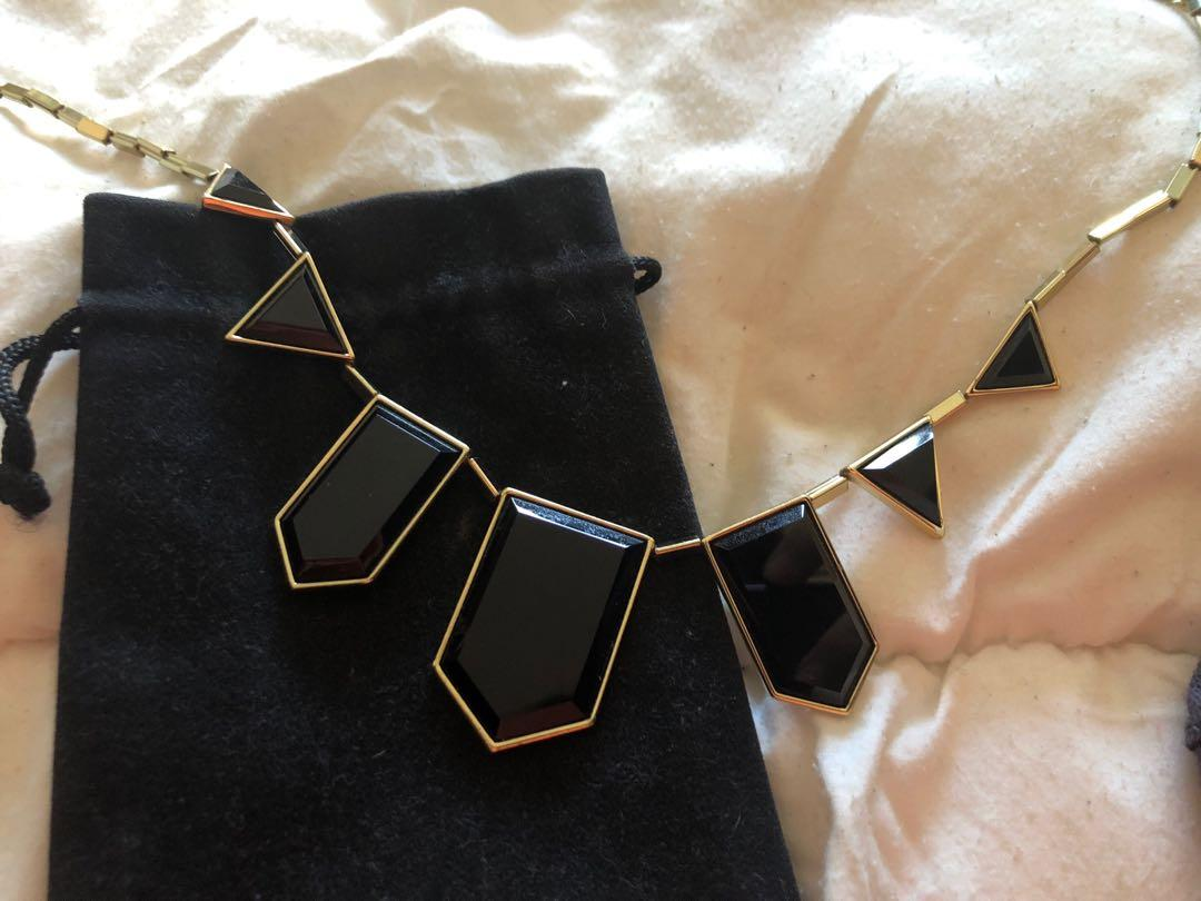 House of Harlow 1960 classic black gold statement necklace
