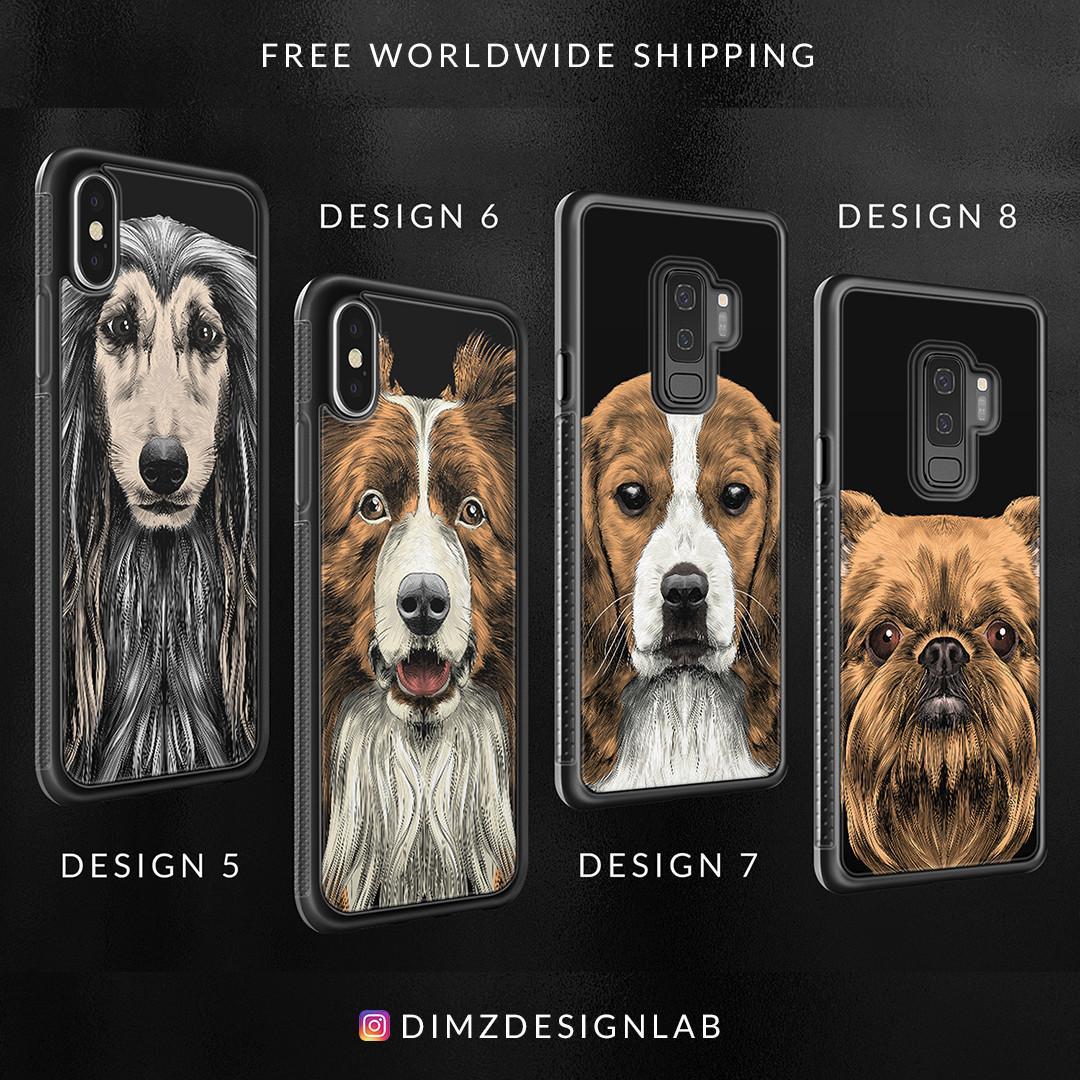 Husky Bulldog Beagle Pit Bull Dalmatian Mastiff Doberman Akita Inu Dog iPhone XS Max XR X 8 Plus 8 Samsung Galaxy S9 Plus S9 Note 8 S8 Plus S8 Case