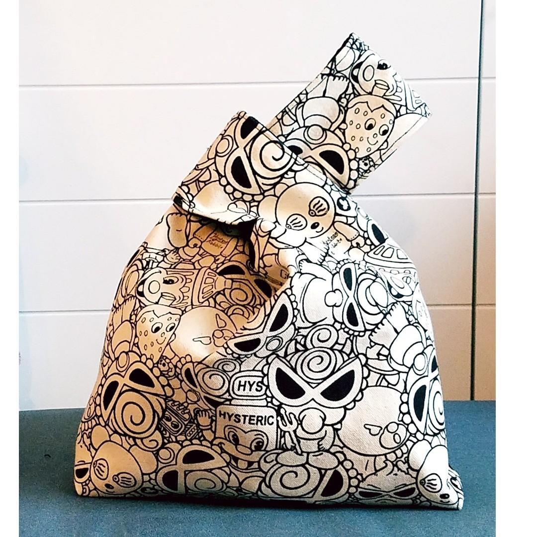 HYSTERIC Mini  黑超BB 棉胚布 印花布 日式小手袋 束口布袋 飯盒餐袋  小手袋 放便袋 手挽袋 收納袋 (主圖# 胚布色)(包平郵)