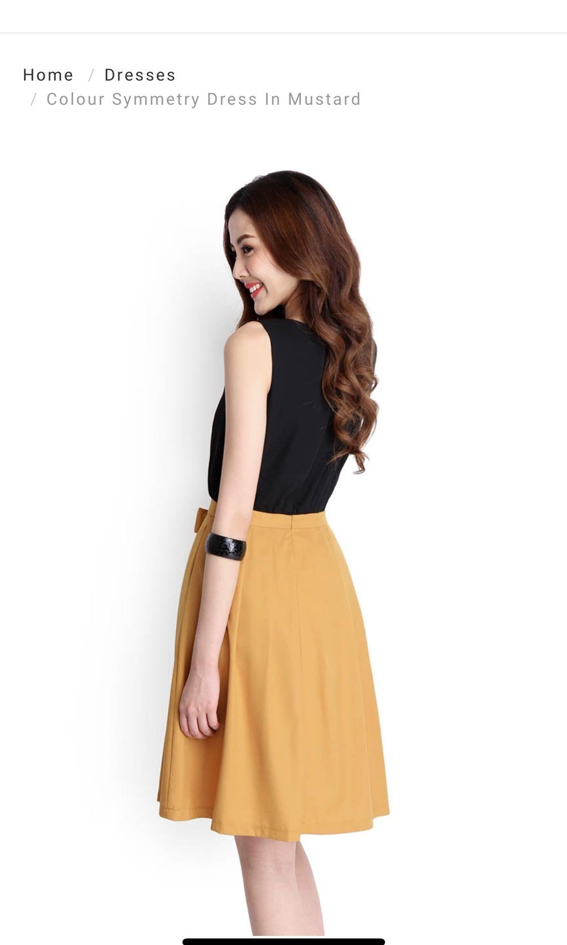 LilyPirates Colour Symmetry Dress in Mustard
