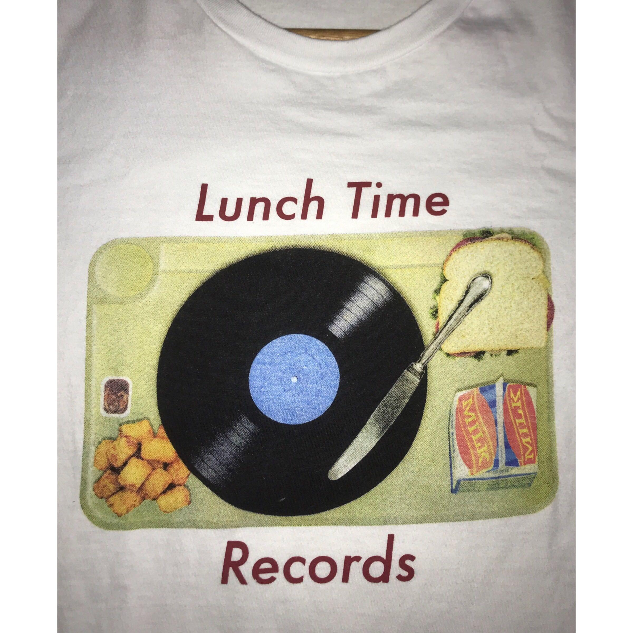 """White Graphic Tee / T-shirt - """"Lunch Time Records"""""""