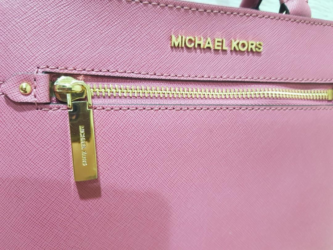 Michael Kors鬱金香粉HAILEE防刮皮革手提斜肩兩用包
