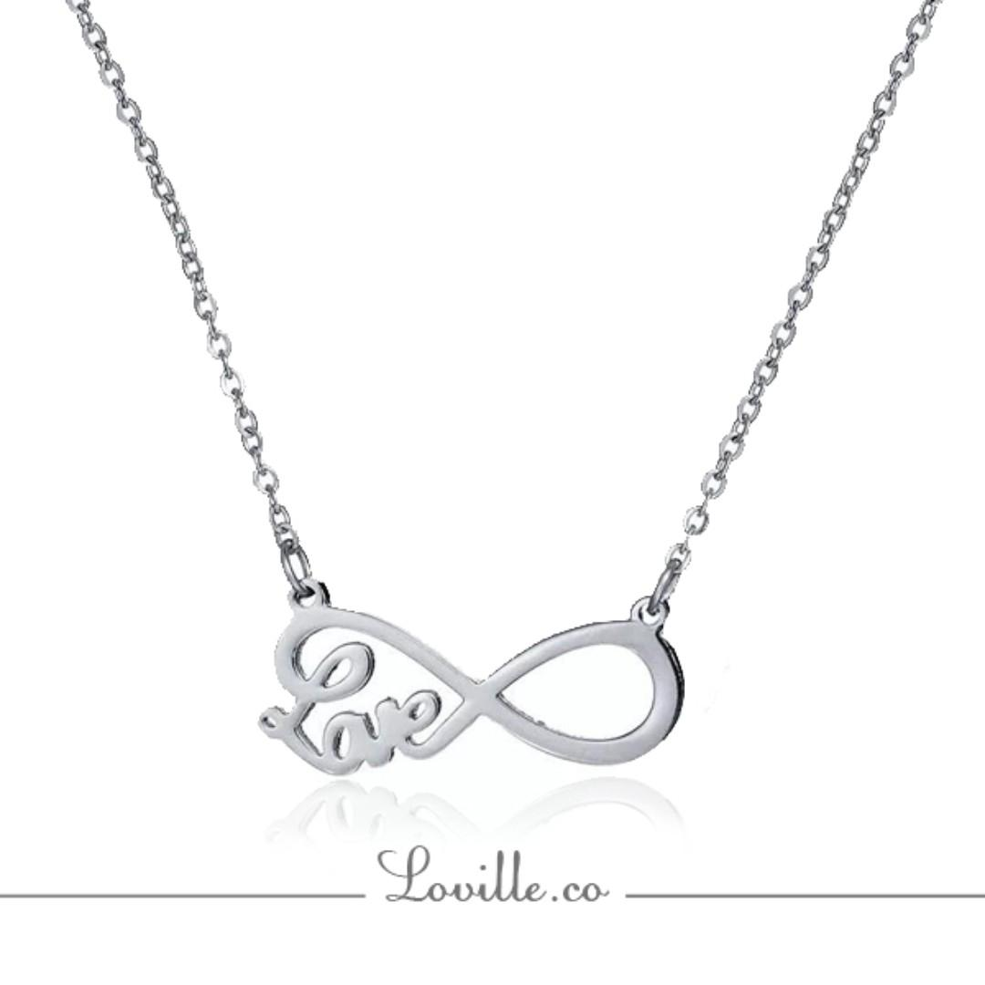 Love Infinity Charm Stainless Steel Silver Fashion Pendant Necklace