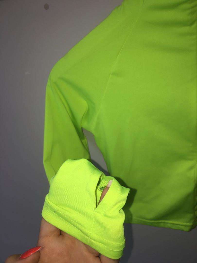 Neon yellow high neck zip up crop top