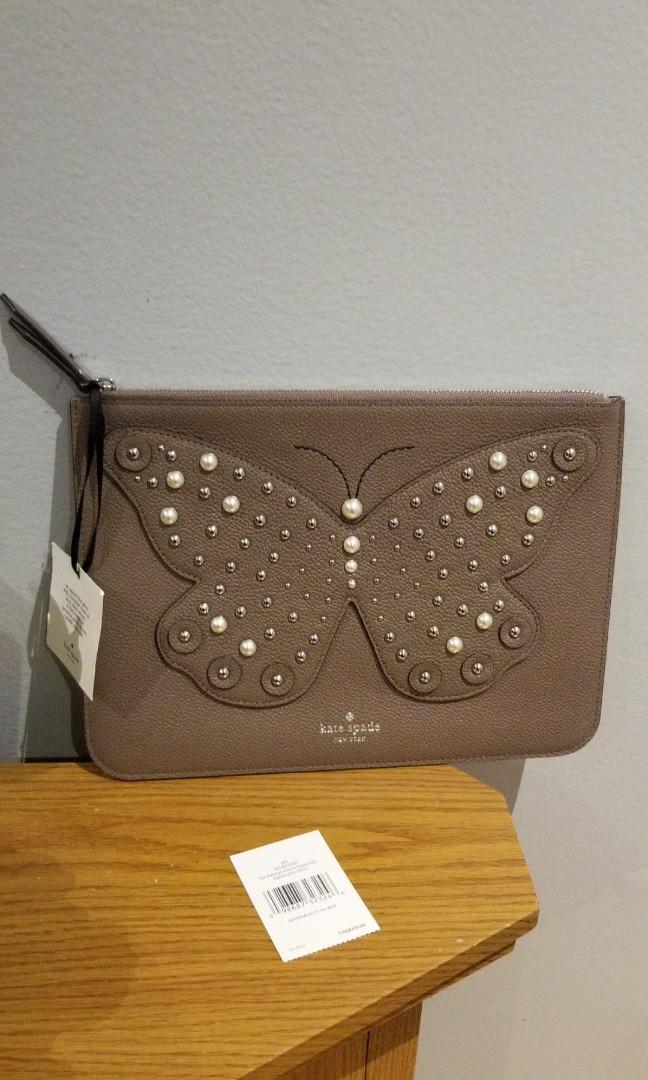 NEW Kate Spade Larchmont Avenue Butterfly Gia Leather Clutch light walnut