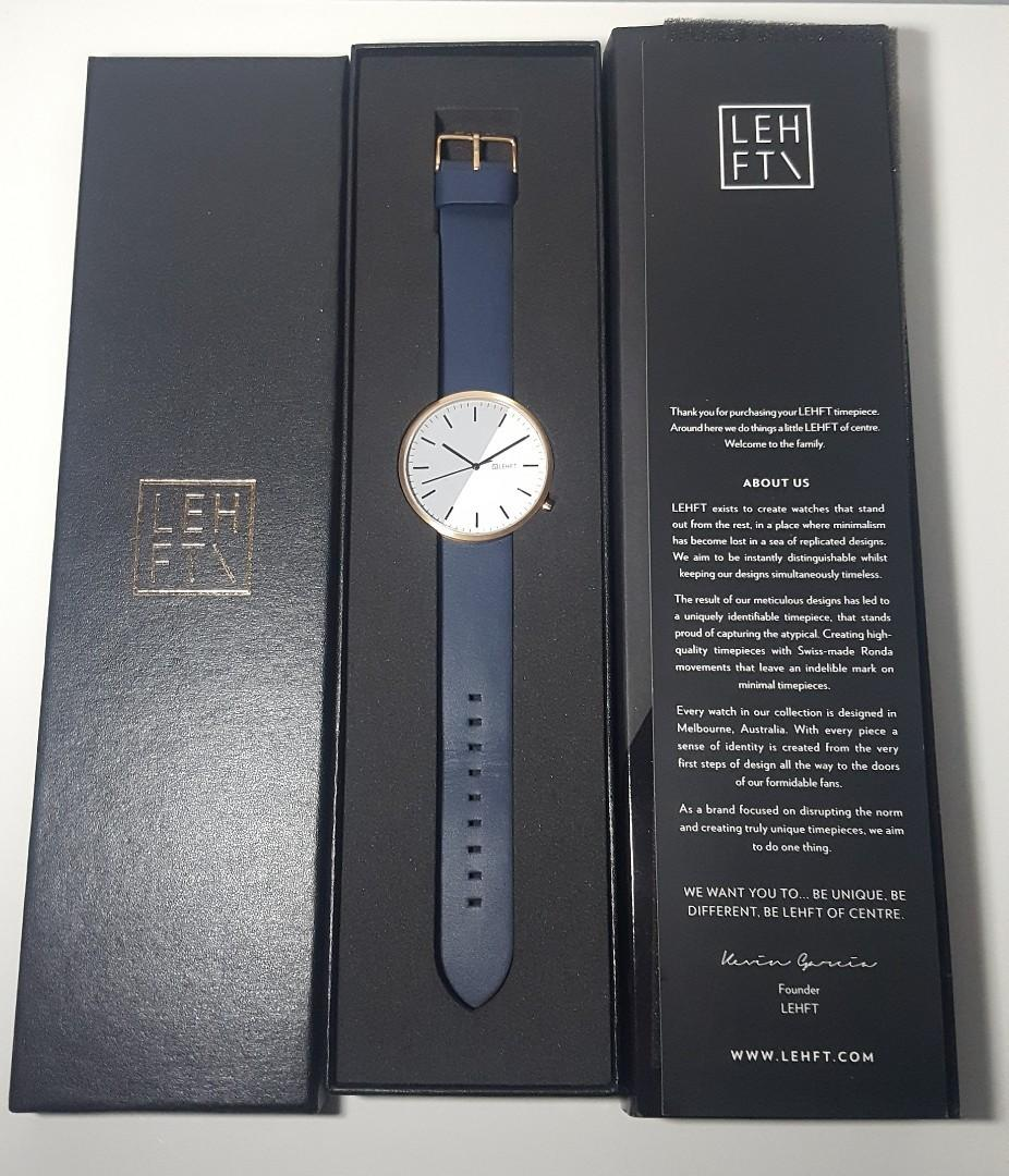 NEW Lehft 2 Tone Rose Gold Watch with Navy Strap - 42mm Unisex