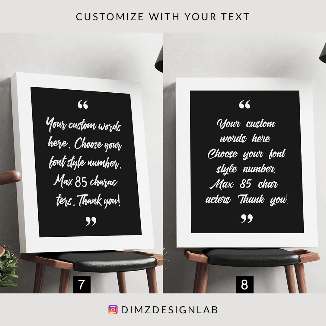 Personalized Custom Text, Quotes, Typography, Bible Verse, Song Lyrics Canvas Print, Art Print, Wall Art, Wall Decor, Wall Hanging 11 x 14 Inch