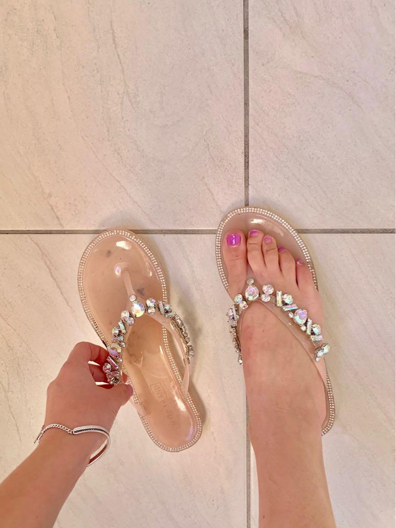 River island jewelled embellished sandals thongs size 7