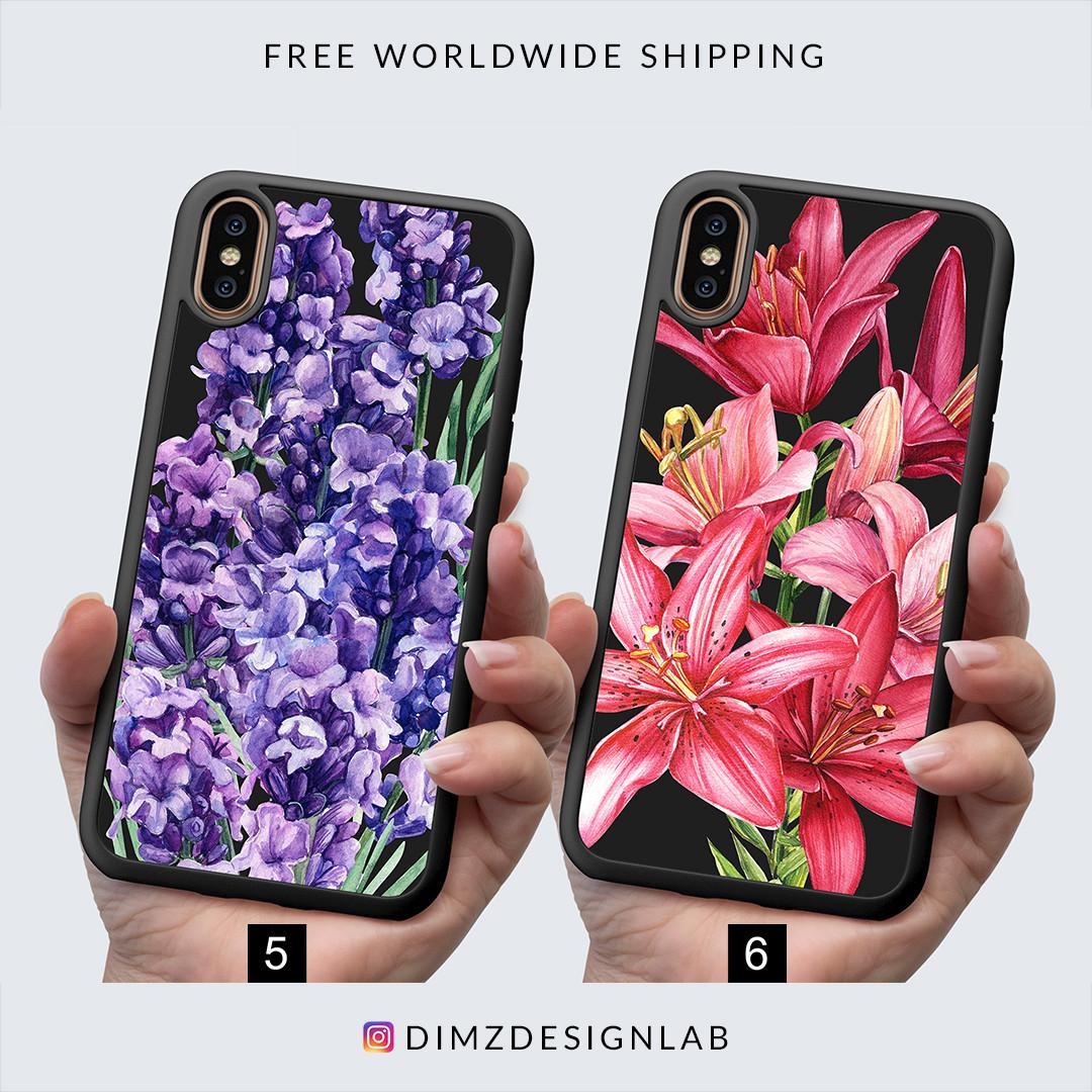 Rose Sunflower Lavender Flower Floral iPhone XS Max XR X 8 Plus 8 Samsung Galaxy S9 Plus S9 Note 8 S8 Plus S8 Case Cover