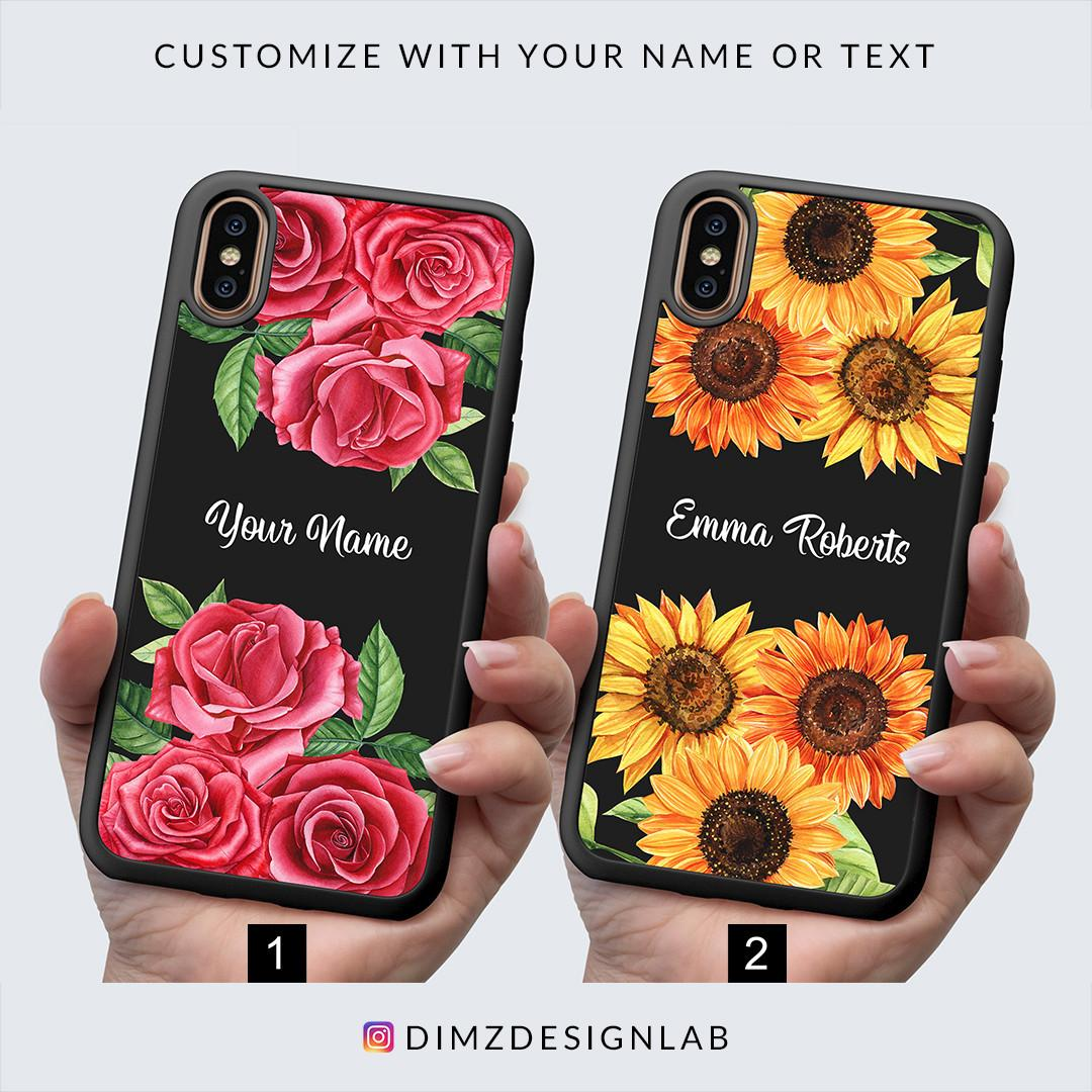 Rose Sunflower Lavender Flower Floral Personalized Custom Name Text iPhone XS Max XR X 8 Plus 8 Samsung Galaxy S9 Plus S9 Note 8 S8 Plus S8 Case