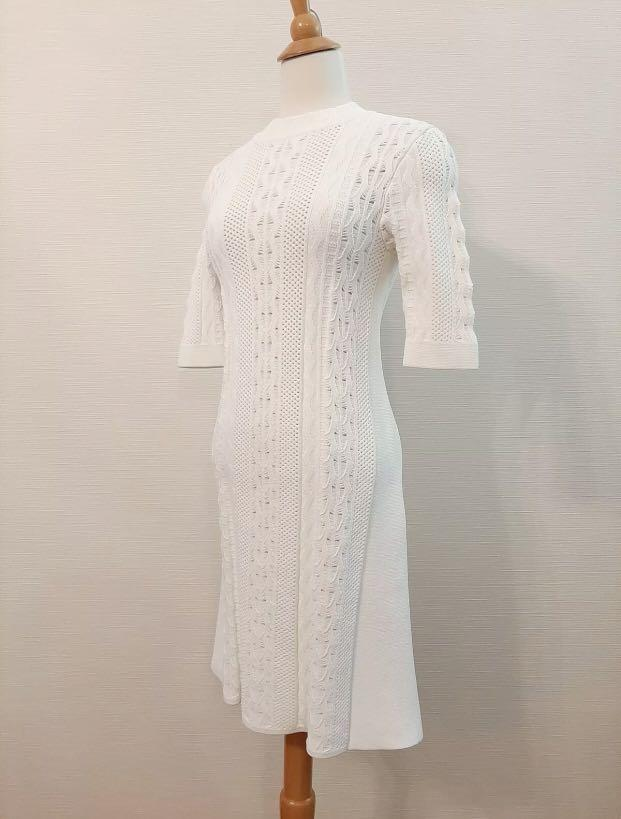 Scanlan Theodore women's white crepe cable knit dress sz Small New