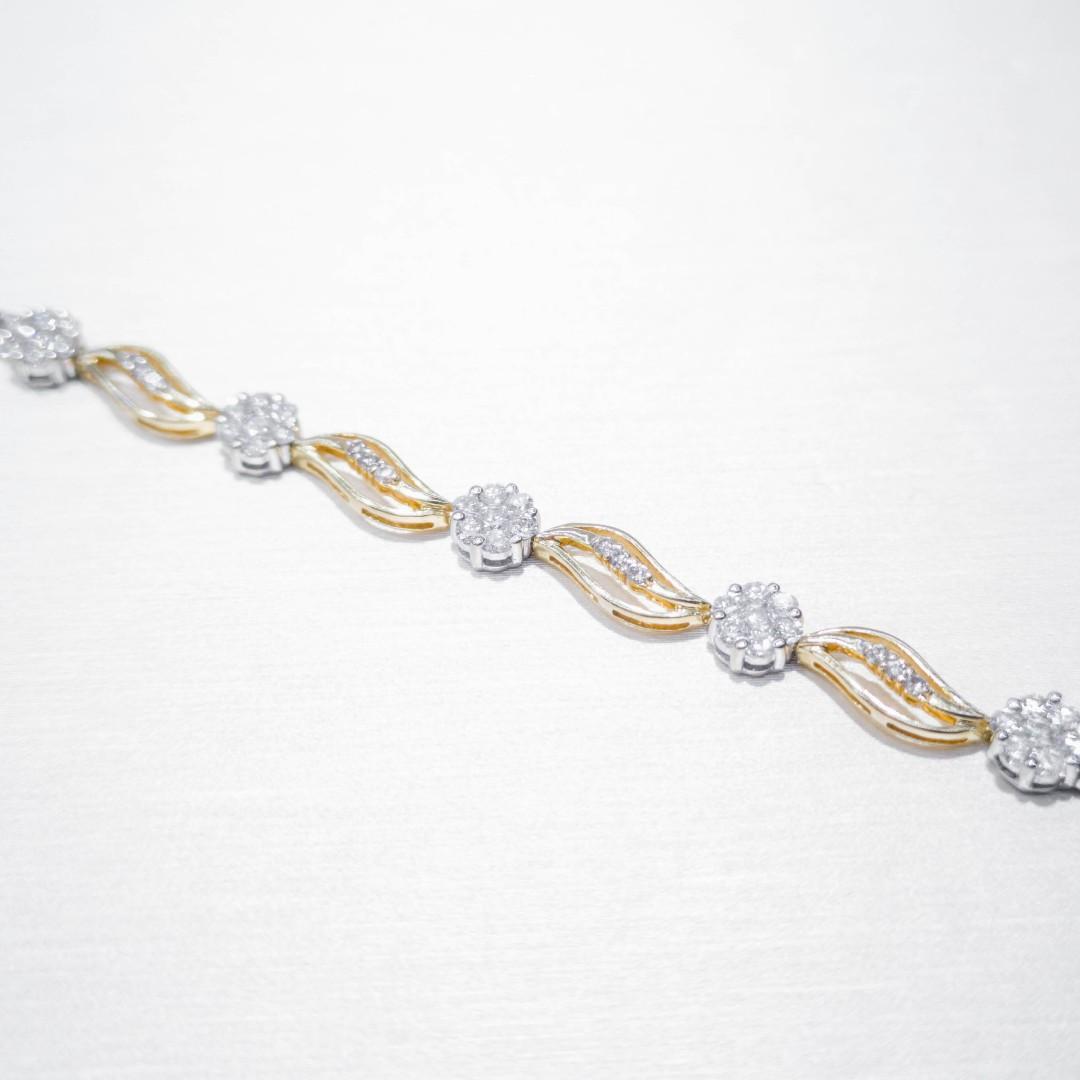 Two Tone Patterned Diamond Bracelet