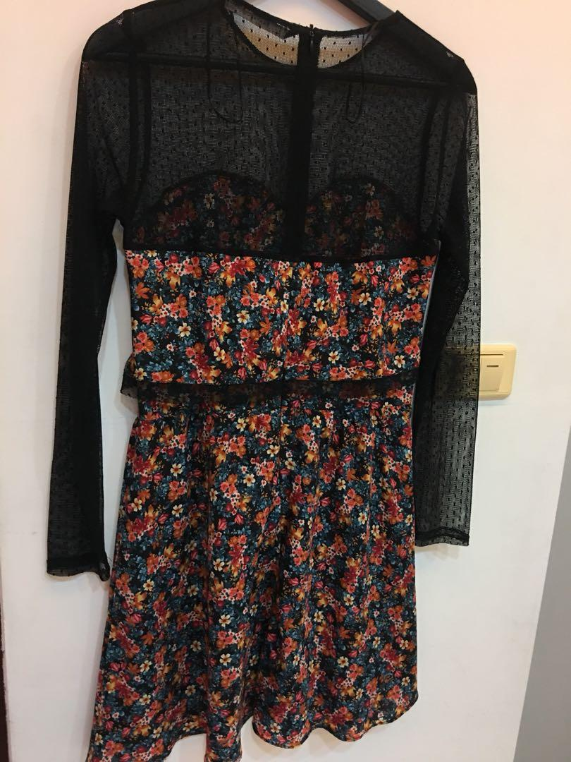 Zara 黑紗碎花洋裝