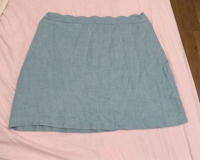 PAZZO 花瓣造型棉麻A字褲裙 淺藍綠色