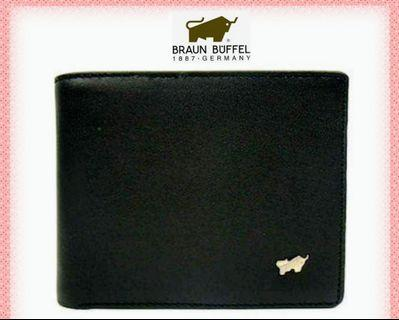(21 Aug~last piece)Braun Buffel authentic black leather 3D  men's wallet