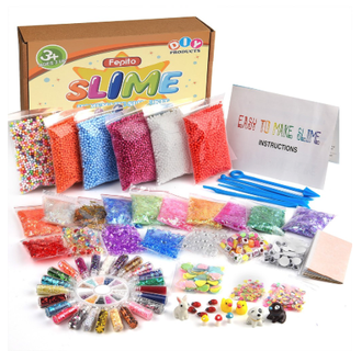 NEW 76pcs slime kit beads diy styrofoam sugar paper colorful foam ball baby toys