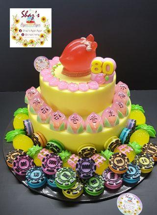 Longevity Theme with Casino chips, Pineapple Agar Agar Birthday Cake! 🍑🍑🍍🍍🍍