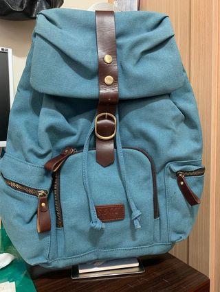 土耳其藍帆布+皮革/後背包
