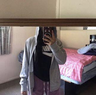Plain Grey Zipper Hoodie